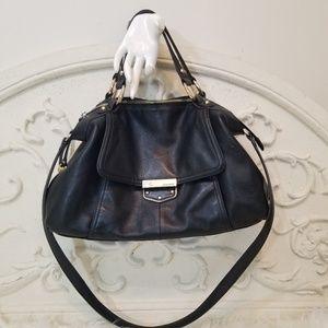 B. Makowsky Black Leather Satchel/Crossbody